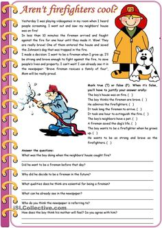 Aren't firefighters cool? – reading comprehension + grammar (comparative of equality, past simple vs. past continuous) tasks] KEYS INCLUDED pages)) ***editable - English ESL Worksheets for distance learning and physical classrooms Reading Comprehension Activities, Reading Worksheets, Printable Worksheets, Comprehension Posters, Comprehension Strategies, English Lessons, Learn English, Presente Simple, English Reading