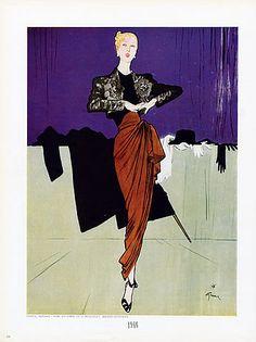 Rene Gruau Fashion Illustration - Marcel Rochas evening gown - 1946