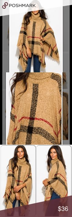 """Warm and Fuzzy Turtleneck Poncho Coming Soon This adorable turtleneck poncho is super warm and cozy. Features fringed trim and checker plaid design. Unlined. 100% acrylic. Model is 5'9"""". This is the perfect addition to your fall or winter outfit. More pics and specs upon arrival. Sweaters Shrugs & Ponchos"""