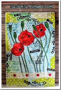 Mix media collage with poppies