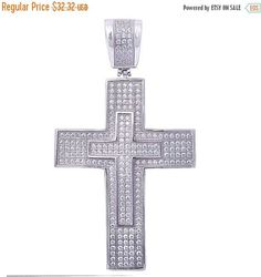 """2"""" Double Cross Pendant Hip Hop Cross Pendant Bling Cross Charm Solid 925 Sterling Silver Round Clear CZ Hip Hop Iced out Cross"""