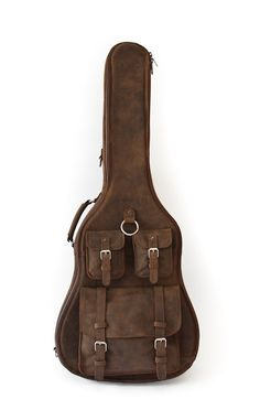 "GEORGIA BROWN GUITAR CASE 100% Full Grain Leather. Lifetime Warranty. Sewn with marine grade threading. 1"" High density foam padding. Strap that works as a backpack or shoulder strap. Stainless steel hardware."