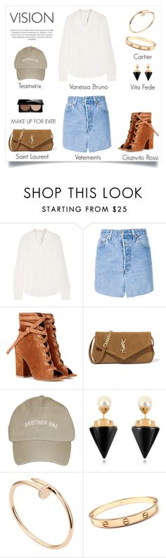 """be with you"" by spicy-xox ❤ liked on Polyvore featuring Vanessa Bruno, Vetements, Gianvito Rossi, Yves Saint Laurent, Vita Fede, Cartier and MAKE UP FOR EVER"