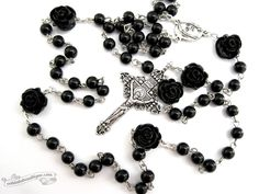 Black rosary necklace, Catholic rosary, gothic rosaries, confirmation rosary, catholic gifts, rose rosary, goth black rose, passion crucifix by OohlalaBeadtique on Etsy https://www.etsy.com/listing/176597649/black-rosary-necklace-catholic-rosary