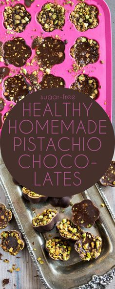 Use the chocolate recipe to make homemade, sugar free chocolate chips. Easy keto low carb chocolates with pistachios.