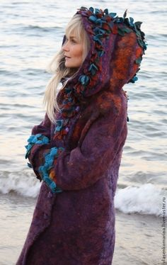 "Пальто валяное ""Мизэки"". Handmade. #felting couture felt pagan fairy folk textile art coat with pixie hood and ribbon embellishments for cold winter walks"