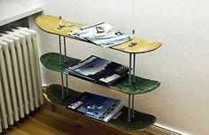 DIY Skate Deck Magazine Rack--would be SO cool for a tween/teen boys bedroom or bathroom!