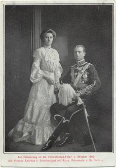 Princess Alice & Prince Andrew of Greece Prince Charles And Camilla, Prince Andrew, Prince Phillip, Casa Real, Princess Alice Of Battenberg, Greek Royalty, Prince And Princess, Gifts In A Mug, Greece