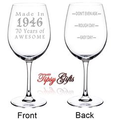 70th Birthday Etched Wine Glass Made In 1946  70 by TipsyGifts
