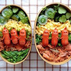 (431) 日本人のごはん/お弁当 Japanese meals/Bento ソーセージ人間弁当 Sausage men Bento | HAUSKAT | Pinterest