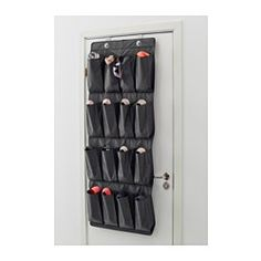 SKUBB Hanging shoe organizer w/16 pockets, black - - - IKEA kids shoe storage. Put on it's side on a wall