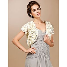 Luxurious Lace With Satin Flowers Short Sleeve Wedding Wrap/ Special Occasion Jacket
