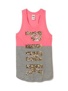 Victoria's Secret PINK Bling Muscle Tank Top Shirt | Pink bling ...