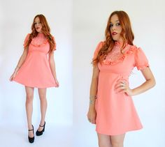 Vintage 70s Peach EMBROIDERED RUFFLE Babydoll Dress M. $54.00, via Etsy.