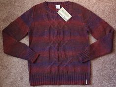 NWT Women's COLUMBIA Sweater North Star Cable Knit Crew Wool Blend Size L Maroon…