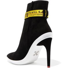 Off-White Grosgrain-trimmed suede ankle boots ($1,085) ❤ liked on Polyvore featuring shoes, boots, ankle booties, suede boots, short boots, bootie boots, high heel booties and pointed booties