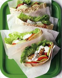 Emeril's Chicken-Patty Pockets: Season ground chicken with coriander, cumin, cayenne pepper, garlic, and parsley to make the tasty little patties for these sandwiches. Serve them in pita pockets with mint-yogurt sauce.- season for ground chicken Spicy Recipes, Lunch Recipes, Cooking Recipes, Healthy Recipes, Healthy Foods, Chicken Sandwich Recipes, Panini Recipes, Sandwich Ideas, Grilled Sandwich