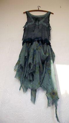 green raggy faery dress