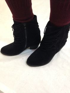 Fringe Booties-Black - BubbaJane's Boutique