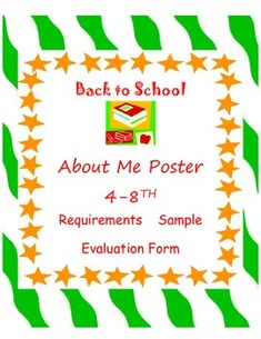 All About Me Poster 4 8th For Getting Acquainted Great Bulletin Board