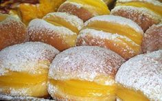 """portuguese doughnuts (bolas de berlim) if you come to Portugal .enjoy the famous """"Bola de Berlim"""". During the summer.They are sold at the beach.in every beach all over the country! Mini Desserts, Sweet Desserts, Sweet Recipes, Cake Recipes, Dessert Recipes, Portuguese Desserts, Portuguese Recipes, Portuguese Food, Tiramisu Recipe"""