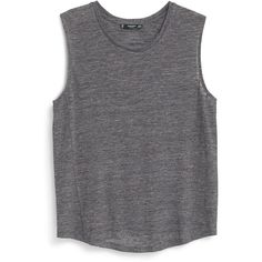 Mango Sleeveless t-shirt found on Polyvore featuring tops, shirts, tanks, tank tops, grey, women, grey top, sleeveless tee shirts, mango tops y shirts & tops