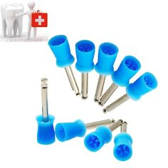 NEW 100 PCS Dental Polishing Polish Prophy Cup Brush 4 Webbed Blue Color Latch Type Prophy Cup Brush