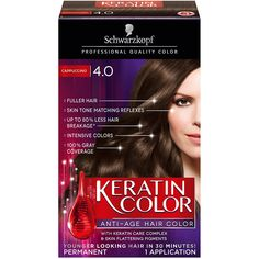 Schwarzkopf Keratin Color Anti-Age Hair Color Kit, 4.0 Cappuccino (Pack of 2) ** You can find out more details at the link of the image.