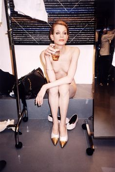 Kirsten McNemany photographed by Juergen Teller backstage at Helmut Lang, 1995