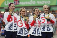 #rio2016 #cycling #britain Gold medalists Laura Trott, Joanna Rowsell-Shand, Katie Archibald, Elinor Barker of Great Britain celebrate on the podium at the medal ceremony for the Women's Team Pursuit on Day 8 of the Rio 2016 Olympic Games at the Rio Olympic Velodrome on August 13, 2016 in Rio de Janeiro, Brazil.