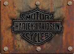 Harley-Davidson® Rusty Bar & Shield Emblem Sign - Free Shipping on Orders Over $99 at Genuine Hotrod Hardware