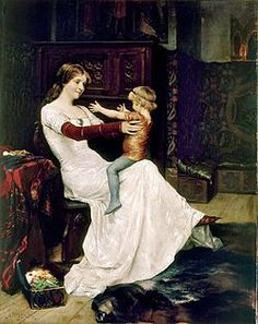 Albert Gustaf Aristides Edelfelt Finnish painter / Queen Blanche of Norway and Sweden with Prince (later King) Hacon, a fantasy painting, Moritz Von Schwind, Queen Of Sweden, Images Vintage, Queen Photos, Georges Braque, Pre Raphaelite, Classical Art, Fine Art, Mother And Child