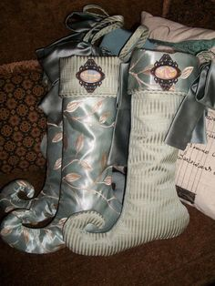 Four Stunning Coordinating Christmas Stockings  2013 Collection READY TO SHIP