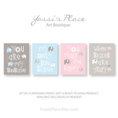 Twins Wall Art You Are My Sunshine  Blue Pink and by YassisPlace, $39.99