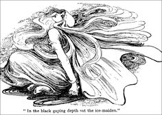 """In the black gaping death sat the ice-maiden."" illustration by Helen Stratton (1918) from HANS C. ANDERSEN // vintage black & white, fairy tale/story"