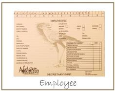 Employee File with or without a clip - - adorned by the Secretary Bird. African Tree, Filing System, Teacher Organization, Human Resources, Appointments, Medical, Resource Management, Student, Ads