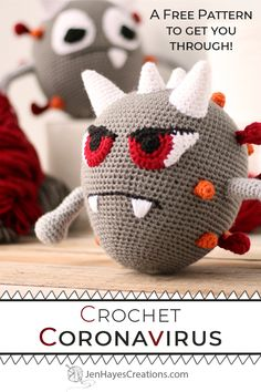 Use this amigurumi pattern to make your own Crochet Coronavirus for yourself, friends, or family to relieve stress. Stay home, stay safe, take care! Crochet For Kids, Crochet Dolls, Crochet Yarn, Free Crochet, Crochet Afghans, Crochet Blankets, Crochet Stitches, Amigurumi Patterns, Crochet Patterns