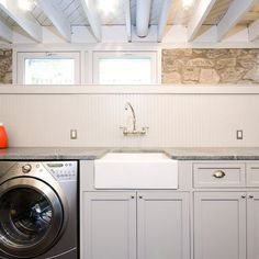 Great way to finish basement laundry and leave the low ceiling exposed...