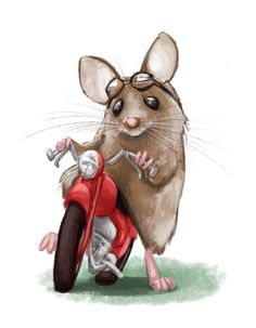 Souris (mouse) - Illustration by Damon Westenhofer, via Behance (Ralph! Mouse on a Motorcycle, B. Mouse And The Motorcycle, Red Motorcycle, Maus Illustration, Hamsters, Rodents, Whimsical Art, Art Plastique, Cute Drawings, Cute Art
