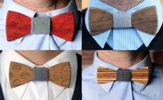 Dupla de empreendedores americanos vende gravatas-borboleta de madeira