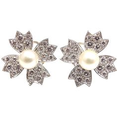 TIFFANY & CO 2CT Diamond Pearl Platinum Earrings | From a unique collection of vintage stud earrings
