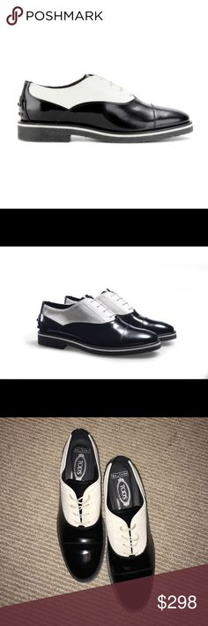 Tod's No_Code Gomma Para SL Francesina Oxfords Gently used Tod's No_Code Oxfords. In collaboration with London magazine editor Jefferson Hack, Italian luxury shoemaker Tod's released the No_Code limited edition capsule collection for the Fall Winter 2013 season. This oxford, which is part of the collection, features white pony hair on the quarter of the shoe while the vamp and toe cap has classic black leather – a contrasting juxtaposition which looks incredibly stylish. This may be your…