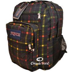 Jansport Big Student Backpack in Black Rasta London Plaid TDN79KM  for $45.00 at OrlandoTrend.com #OrlandoTrend
