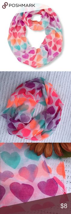 Girls heart shimmer scarf NWOT Cute heart patterned lightweight scarf. Has a sparkle shimmer to it. Accessories