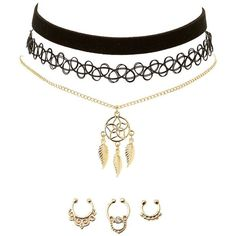 Charlotte Russe Boho Choker Necklaces & Septum Rings Set ($7) ❤ liked on Polyvore featuring jewelry, necklaces, gold, boho jewellery, lobster clasp charms, boho necklace, bohemian necklaces and tattoo choker