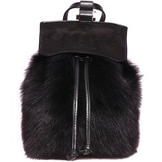 Desa Fourty Four leather and fur backpack (470 SGD) ❤ liked on Polyvore featuring bags, backpacks, black, fur bag, genuine leather bag, tassel bag, black leather knapsack and black bag