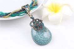 Check out Bohemia Style Necklace, Rope Natural Crystal, turquoise Stone Pendant, Chains Necklaces, Turquoise stone, summer style jewelry, gift for her on melindajewelrystore