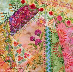New crazy quilting art stitching ideas Crazy Quilting, Crazy Quilt Stitches, Crazy Quilt Blocks, Patch Quilt, Art Quilting, Rag Quilt, Ribbon Embroidery, Embroidery Stitches, Embroidery Patterns