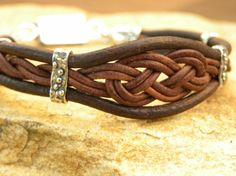 Leather and Sterling Silver Sailors Knot Bracelet by TANGRA2009, $89.00