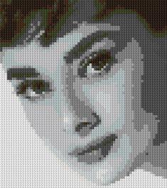 Hepburn, Sabrina/ Roman Holiday movie era counted Cross Stitch Pattern in by shelleyfaye Cross Stitch Baby, Counted Cross Stitch Patterns, Cross Stitch Designs, Cross Stitch Embroidery, Hand Embroidery, Anime Pixel Art, Pixel Pattern, Embroidery Patterns Free, Cross Stitching